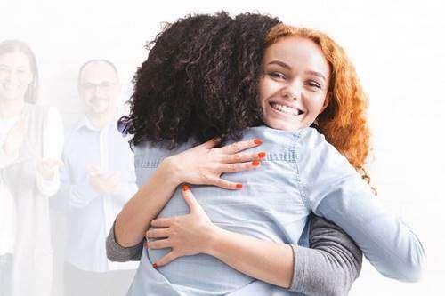 Hugging during group meeting